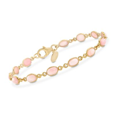 Pink Opal Link Bracelet in 18kt Yellow Gold Over Sterling Silver, , default