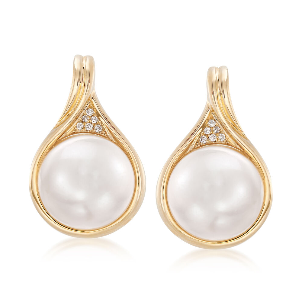 11 5mm Mabe Pearl Earrings In 14kt Yellow Gold With Diamond Accents