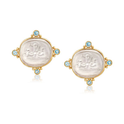 Mazza 21x18mm Mother-Of-Pearl Doublet and 1.20 ct. t.w. Blue Topaz Earrings in 14kt Yellow Gold, , default