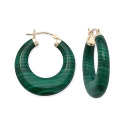 Malachite Hoop Earrings in 14kt Yellow Gold , , default