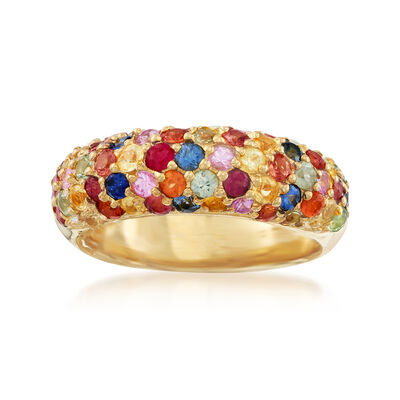 3.10 ct. t.w. Multicolored Sapphire Ring in 18kt Gold Over Sterling, , default