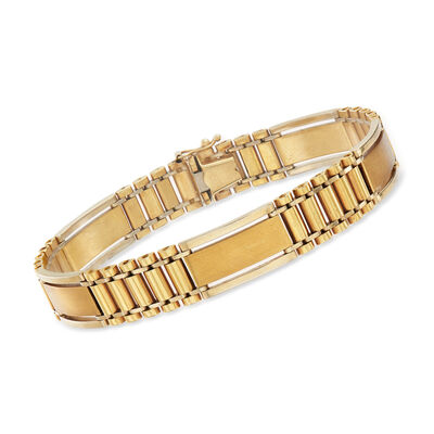 C. 1990 Vintage 14kt Two-Tone Gold Link Bracelet, , default
