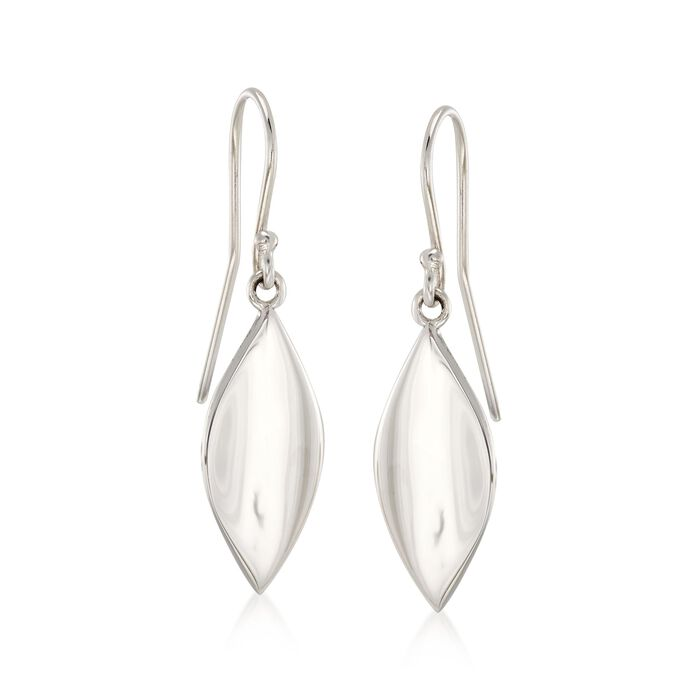 """Zina Sterling Silver Small """"Smooth Leaf"""" Drop Earrings"""