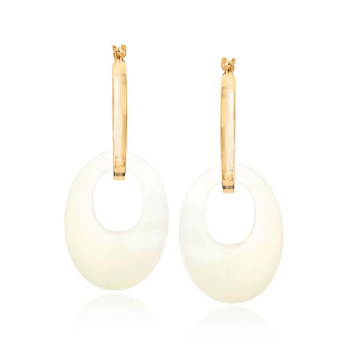 20x15mm Multi-Gemstone Open-Oval Interchangeable Hoop Earrings in 14kt Yellow Gold