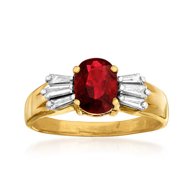 C. 1980 Vintage 1.35 Carat Ruby and .60 ct. t.w. Diamond Ring in 14kt Yellow Gold