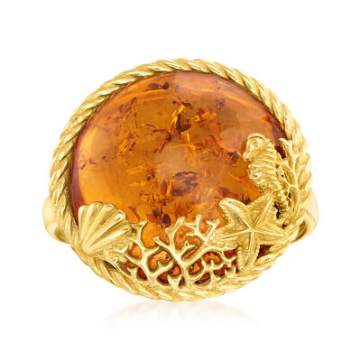 Amber Sea Life Ring in 18kt Gold Over Sterling