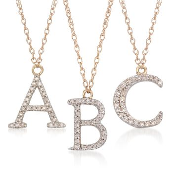 """.10 ct. t.w. Diamond Initial """"U"""" Necklace in 14kt Yellow Gold, , default"""