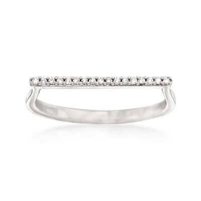 14kt White Gold Bar Ring with Diamond Accents, , default