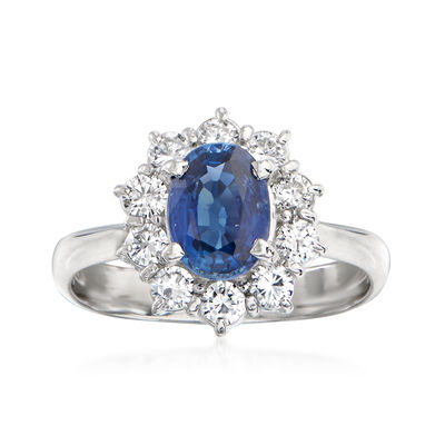 C. 1980 Vintage 1.35 Carat Sapphire and .55 ct. t.w. Diamond Ring in Platinum