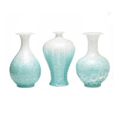 Set of 3 Boracay Mother-Of-Pearl Effect Celadon Vases, , default