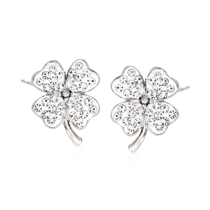 Crystal and White Enamel Four-Leaf Clover Earrings in Sterling Silver