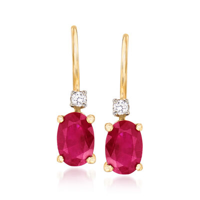 1.10 ct. t.w. Ruby Earrings with Diamonds in 14kt Yellow Gold, , default