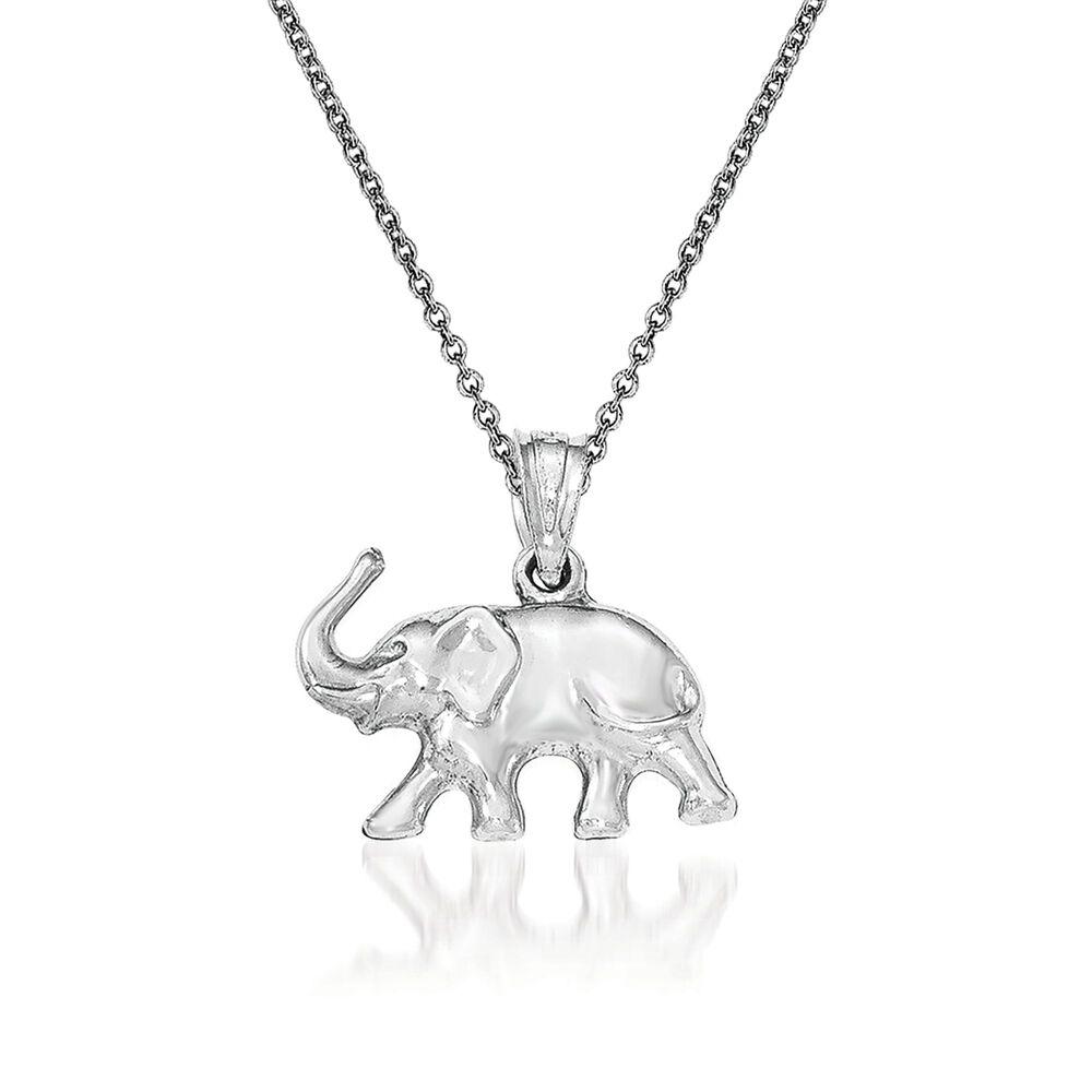14kt white gold elephant pendant necklace 18 ross simons 14kt white gold elephant pendant necklace 18quot default aloadofball Choice Image