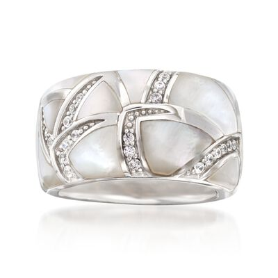 "Belle Etoile ""Sirena"" Mother-Of-Pearl and .25 ct. t.w. CZ Ring in Sterling Silver, , default"