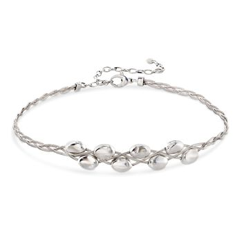 """Italian Sterling Silver Braided Bead Choker Necklace. 13"""", , default"""