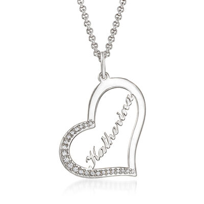 .11 ct. t.w. CZ Personalized Heart Pendant Necklace in Sterling Silver, , default