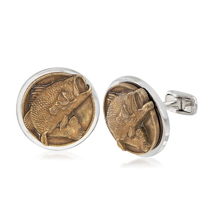 Men's Bass Fish Coin Cuff Links , , default