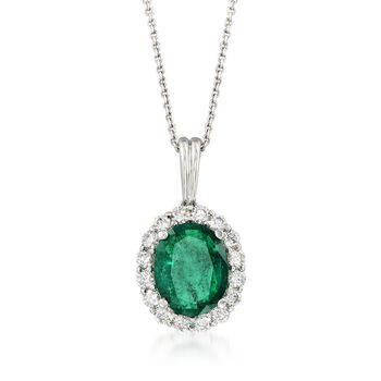 """3.90 Carat Emerald and .80 ct. t.w. Diamond Pendant Necklace in 18kt White Gold. 16"""", , default"""