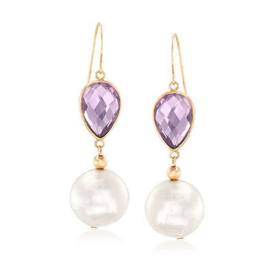 12-13mm Cultured Pearl and 4.00 ct. t.w. Amethyst Drop Earrings in 14kt Yellow Gold