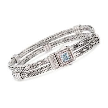 "Phillip Gavriel ""Woven"" .80 Carat Blue Topaz and .40 ct. t.w. White Sapphire Station Link Bracelet in Sterling Silver. 7"", , default"