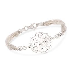 "Sterling Silver Monogram Multi-Strand Bracelet. 7.5"", , default"