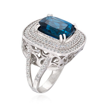 6.50 Carat London Blue and .90 ct. t.w. White Topaz Ring in Sterling Silver, , default