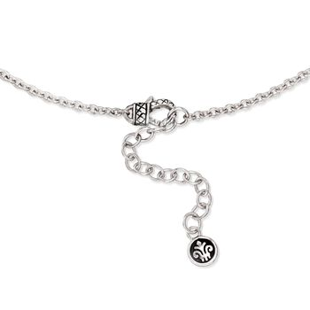"Andrea Candela ""Art Deco"" 6.75 ct. t.w. White Topaz and Black Spinel Necklace with Diamonds in Sterling Silver. 17"""