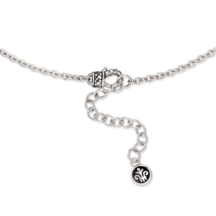 """Andrea Candela """"Art Deco"""" 6.75 ct. t.w. White Topaz and Black Spinel Necklace with Diamonds in Sterling Silver"""