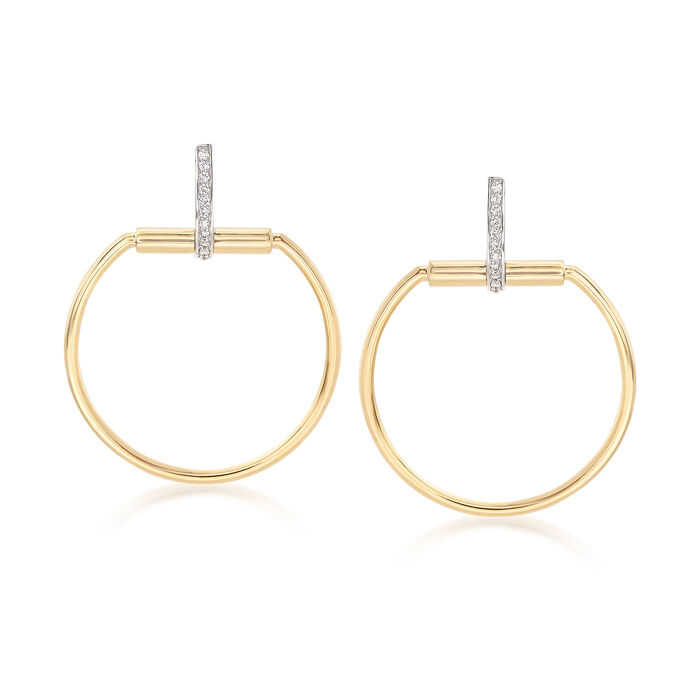 "Roberto Coin ""Parisienne"" .20 ct. t.w. Diamond Open Circle Drop Earrings in 18kt Two-Tone Gold"