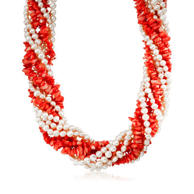 Coral and Cultured Pearl Torsade Necklace with Sterling Silver, , default