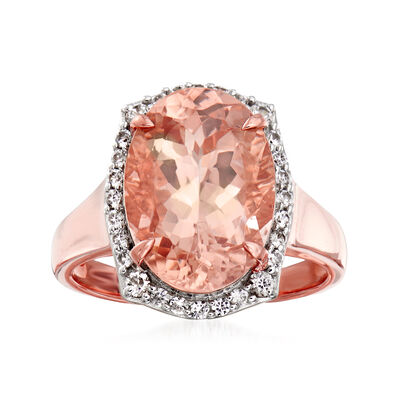 4.60 Carat Morganite and .40 ct. t.w. White Zircon Ring in 14kt Rose Gold, , default
