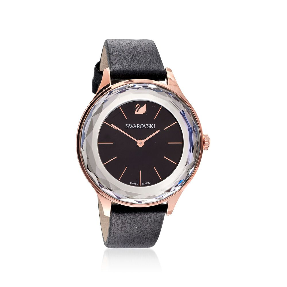 5acf11ff6e0c8 Swarovski Crystal Octea Nova Women's Rose Goldtone Stainless Watch with  Black Crystal and Leather