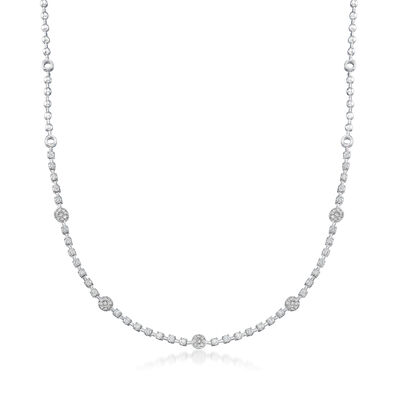 2.00 ct. t.w. Diamond Station Necklace in 14kt White Gold, , default