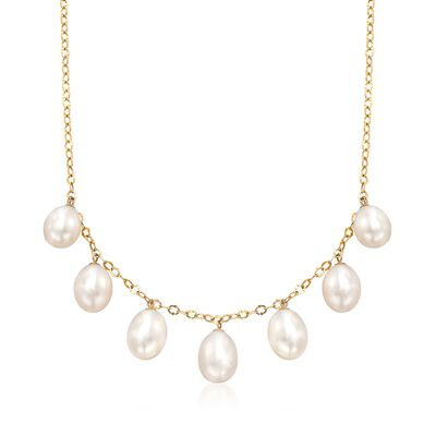10-10.5mm Cultured Pearl Drop Necklace in 14kt Yellow Gold, , default