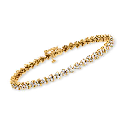 C. 1980 Vintage 4.00 ct. t.w. Diamond Line Bracelet in 14kt Yellow Gold