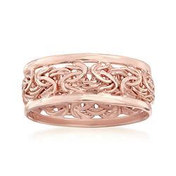 18kt Rose Gold Over Sterling Byzantine Ring, , default