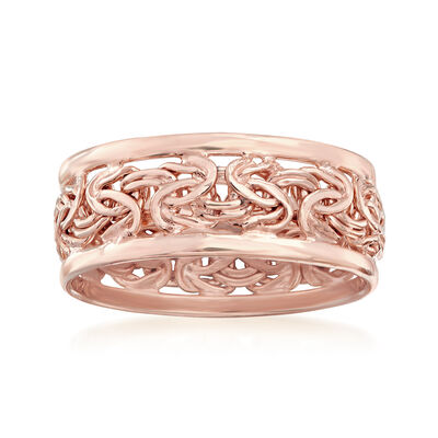 18kt Rose Gold Over Sterling Byzantine Ring, , default