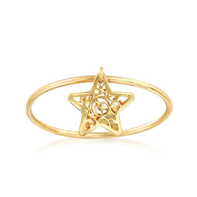 Italian 14kt Yellow Gold Star Charm Ring