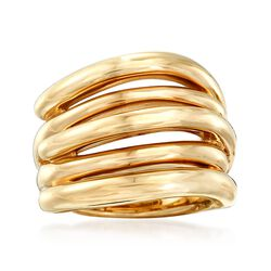 14kt Yellow Gold Open Multi-Row Ring. Size 5, , default