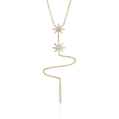 .65 ct. t.w. Diamond Starburst Y-Necklace in 14kt Yellow Gold, , default