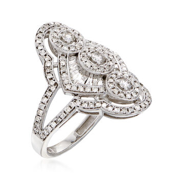 1.00 ct. t.w. Baguette and Round Diamond Multi-Circle Center Ring in 14kt White Gold, , default