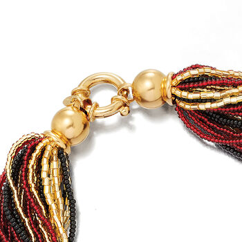 Italian Red, Black and Gold Murano Glass Bead Torsade Necklace in 18kt Gold Over Sterling, , default