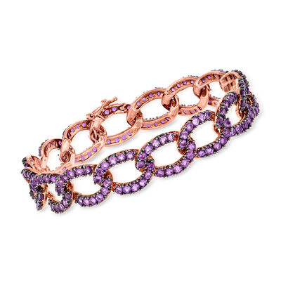 7.50 ct. t.w. Amethyst Chain-Link Bracelet in 14kt Rose Gold