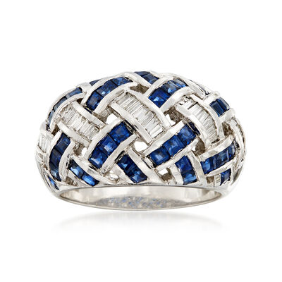 C. 1990 Vintage 2.80 ct. t.w. Sapphire and .50 ct. t.w. Baguette Diamond Basketweave Ring in 14kt White Gold, , default