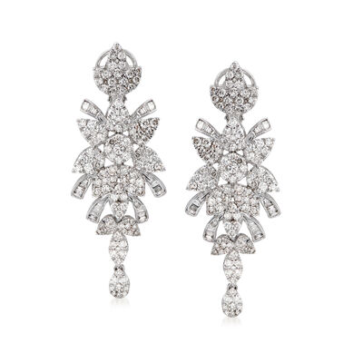 3.87 ct. t.w. Diamond Drop Earrings in 14kt White Gold