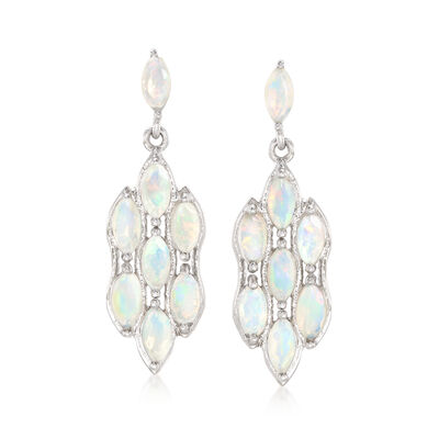 Ethiopian Opal Drop Earrings in Sterling Silver , , default