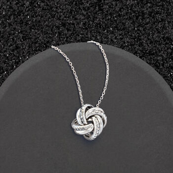 Italian Sterling Silver Love Knot Pendant Necklace