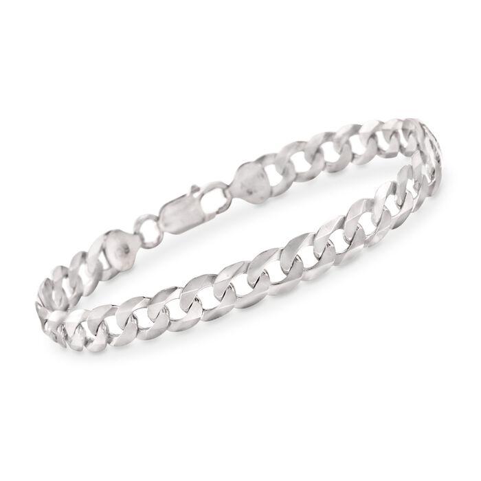 """Men's 8.2mm Sterling Silver Curb Link Bracelet. 8.5"""", , default"""