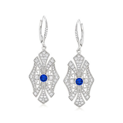 1.55 ct. t.w. CZ and .40 ct. t.w. Simulated Sapphire Drop Earrings in Sterling Silver, , default