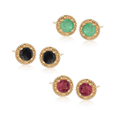 1.90 ct. t.w. Multi-Stone Jewelry Set: Three Pairs of Stud Earrings